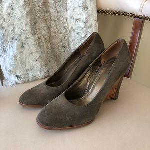 Donald Pliner dark taupe/grey wedge heels